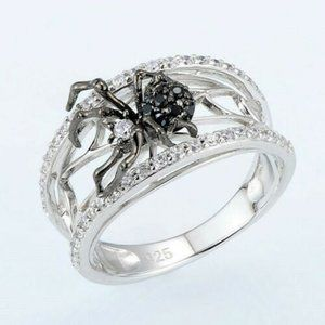 Black Widow White Sapphire 925 Silver Rings 6